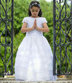 2016 Holy Ball Gown First Communion Dresses for Girls with Short Sleeves White Tiered Organza Flower Girl Dresses with Bow