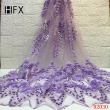 HFX African lace fabric 2019 high quality 3D Flower Embroidery Tulle Lace Fabric With Beads French 5 Yards Pink F2030