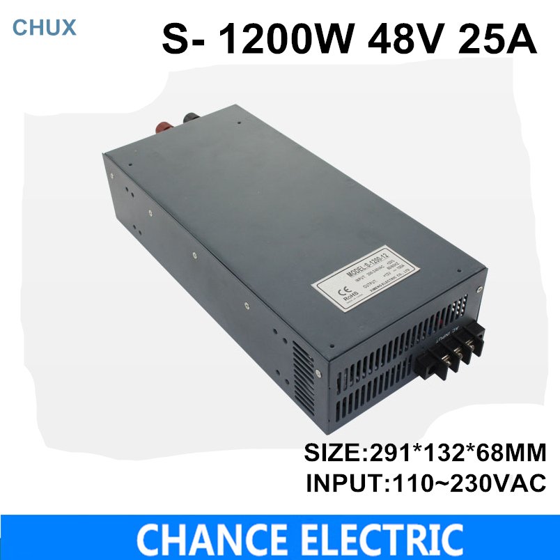 switching power supply 48V 25A 1200W 110~230VAC single output input for cnc cctv led light(S-1200W-48V) diy kits p10 led display outdoor full color 20pcs 32 16pixel 320 160mm rgb module 5v 40a power supply 4pcs 1pcs control card