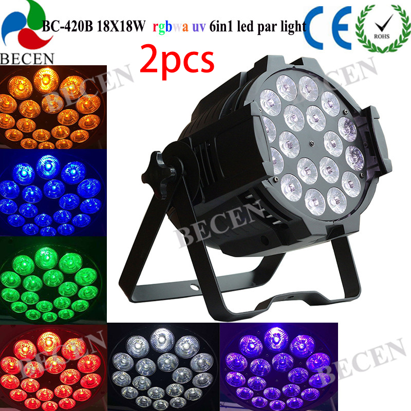 2pcs 18x18w 6in1 Rgbwa Uv Led Par Light Dmx 512 Dj Wash Lighting Stage Light Lights & Lighting