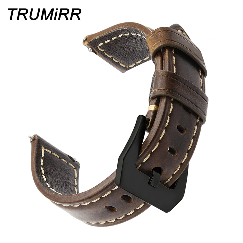 22mm Italy Oily Genuine Leather Watchband for Samsung Gear S3 Classic Frontier Quick Release Watch Band Steel Buckle Wrist Strap цена