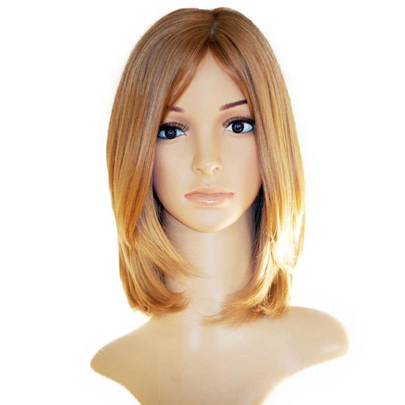 Honey Brown Colored Silky Straight European Hair Silk Base 150% Density Human Hair Wigs Jewish Wigs Remy Hair