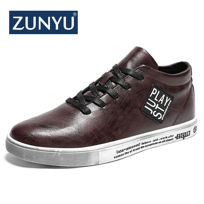 ZUNYU Brand New Spring Summer Fashion Style Sneakers Men's Shoes Brown Black Color Lace up Flats Breathable Men Casual Shoes new casual shoes men sneakers spring summer breathable soft lace up platform flats shoes black high quality fashion shoes h693