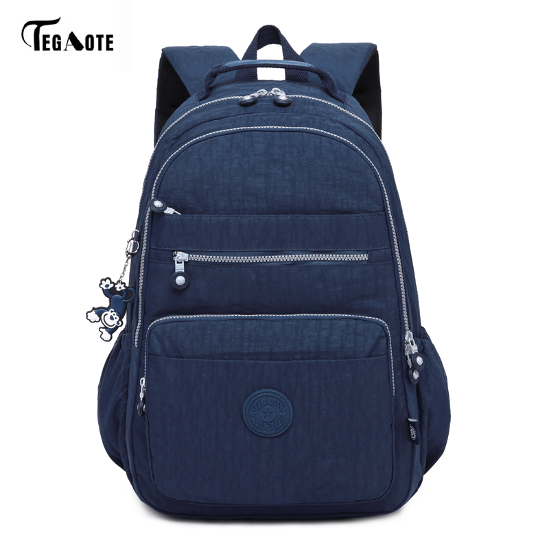TEGAOTE Brand Laptop Backpack Women Travel Bags 2017 Multifunction Rucksack Waterproof Nylon School Backpacks For Teenagers hee grand flowers creepers pearl glitter flats shoes woman pink loafers comfort slip on casual women shoes size 35 43 xwc1112