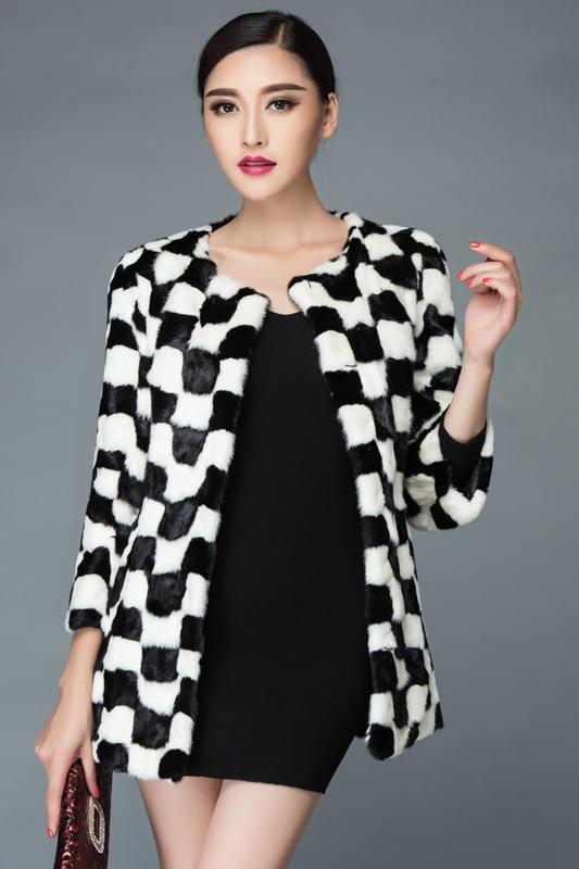 Manteau Color Mince Fourrure Nouveau Section Et Noir Morceaux Grille Blanc Longue 2016 Picture Dans La De Vison Coréen XIRTqxnZq