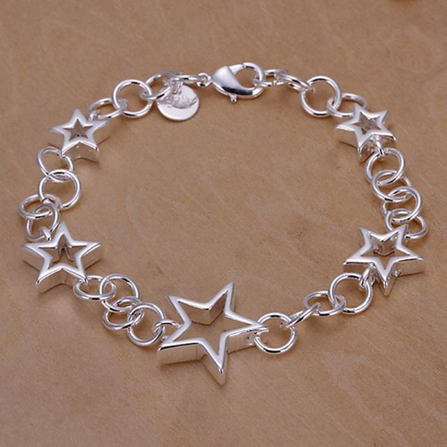 H178 silver fashion jewelry 925 jewelry silver plated bracelet Hollow Stars Pend