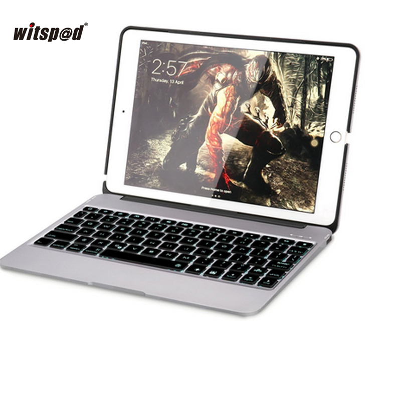 F06 For IPAD ARI 2 Luxuary Stand Case , Backlit Aluminum Bluetooth Wireless Keyboard Clamshell Cover with 2800mah Power Bank ari