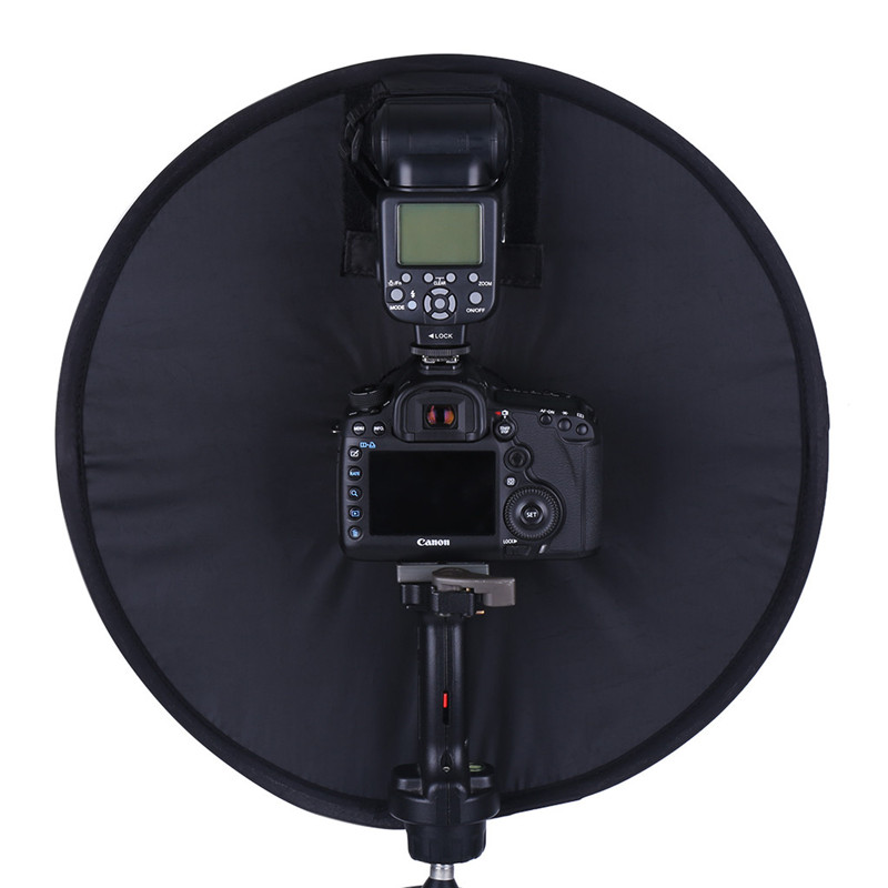 Lightdow 45cm Foldable Ring Speedlite Flash Diffuser Macro Shoot Round Softbox for Canon Nikon Sony Pentax Godox Speedlight 5