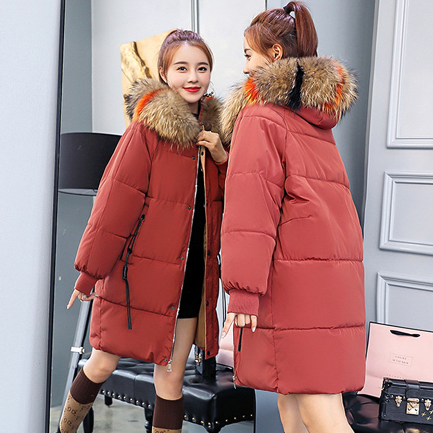 Autumn Winter Warm Female Hoodie   Parkas   Clothes Fashion Korean OL Coat Dark Red Women Casual Cotton Down Jacket 021-1510MC15
