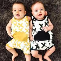 Newborn Pocket Romper Infant Clothes Baby Boy Cross Printed Sleeveless Cotton Blend Jumpsuit Outfits Kids Clothing