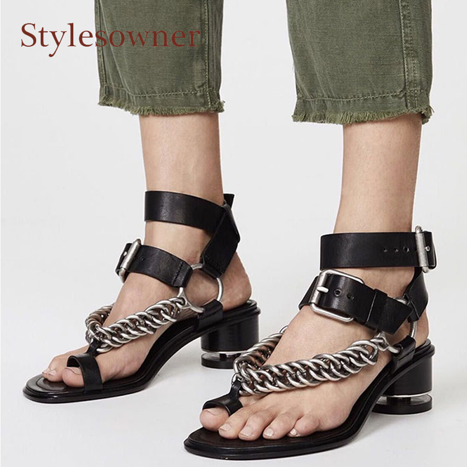 Stylesowner retro style chunky heel women sandals metal chain clip toe gladiator genuine leather belt buckle casual summer shoes retro style pin buckle wide belt for women