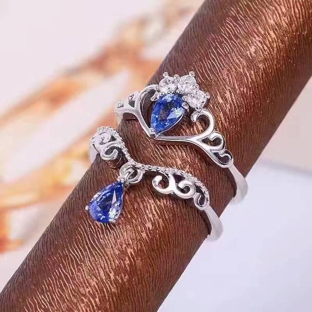 Природные танзанит gem Кольцо Натуральный камень Кольцо стерлингового серебра 925 Стильный элегантный два носит Корону капли воды женщины Ювелирные Изделия