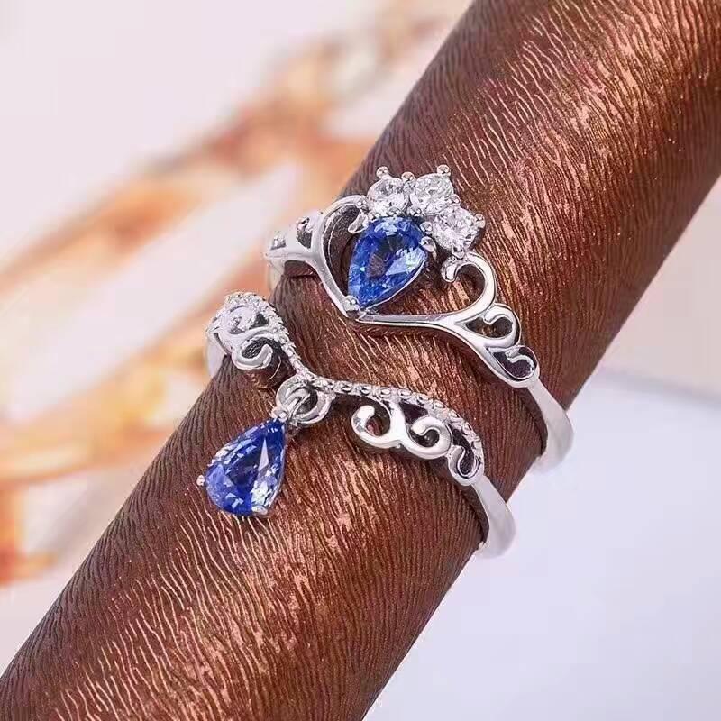 Natural tanzanite gem Ring Natural gemstone Ring 925 sterling silver Stylish elegant two wears Crown water drop women Jewelry