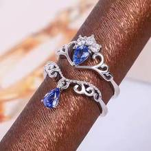 Natural tanzanite gem Ring Natural gemstone Ring 925 sterling silver Stylish elegant two wears Crown water drop women Jewelry