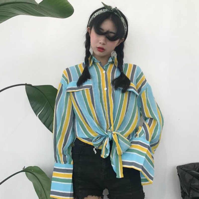 Mazefeng 2018 New Spring Autumn Women Casual Striped Long Shirts Loose Style Streetwear Tops