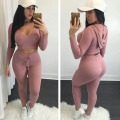 Women fashion knitted two pieces set casual long sleeve sexy crop tops hooded and bodycon pencil pants two pieces suit tracksuit