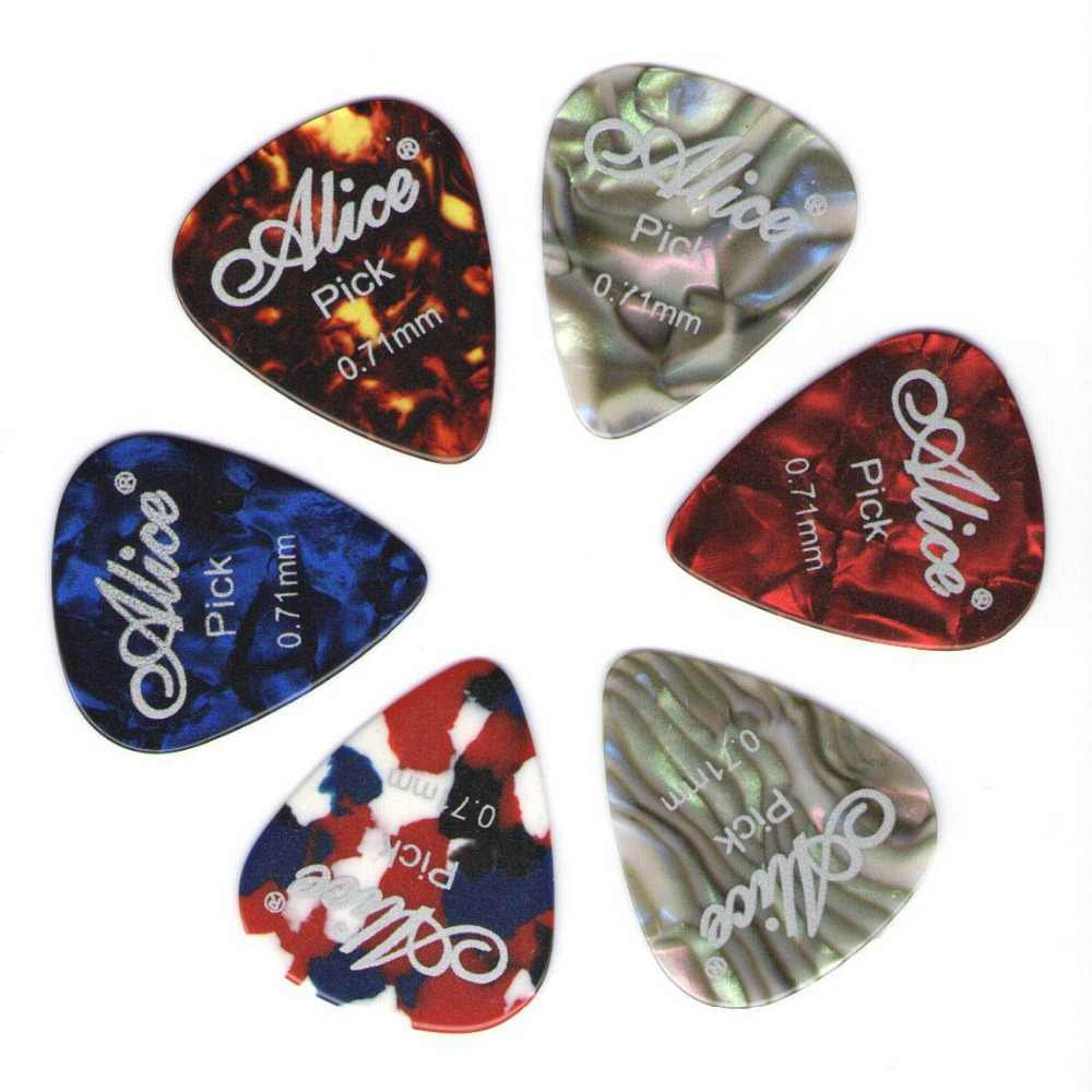 6 sztuk Alice kostki gitarowe z celuloidu pośrednika grubość 0.46 0.71 0.81 0.96 1.20 1.50mm-kolor losowo