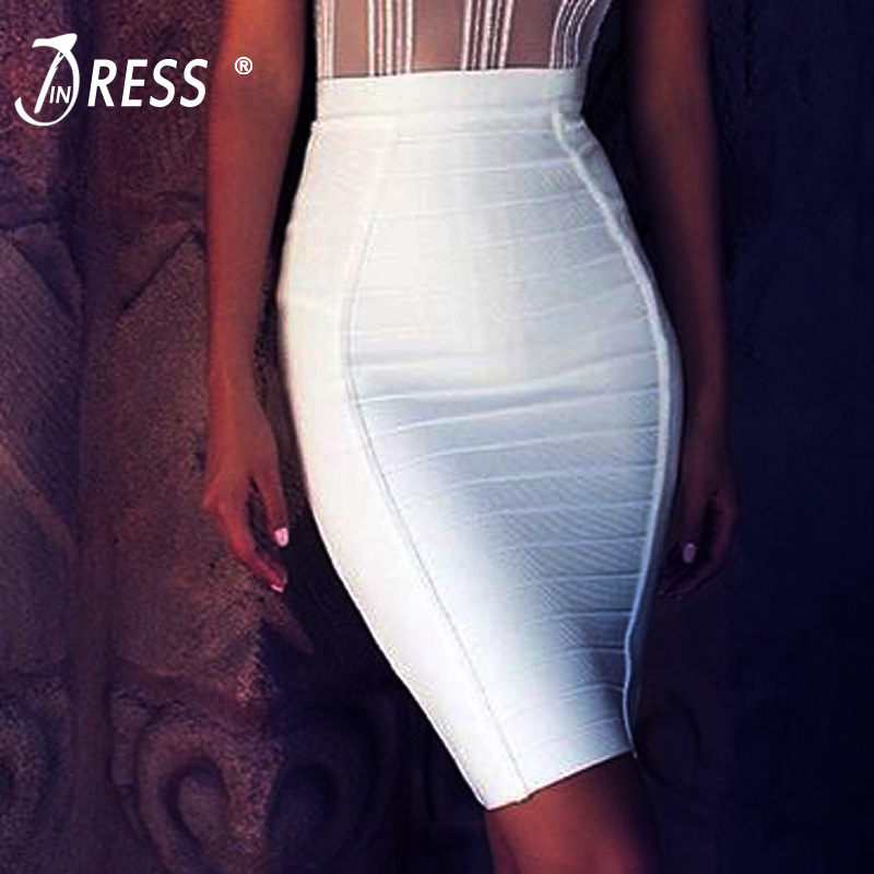 INDRESSME New Sexy Pencil Bodycon Skirt Striped Knee-Length Bandage Skirts Wear To Work