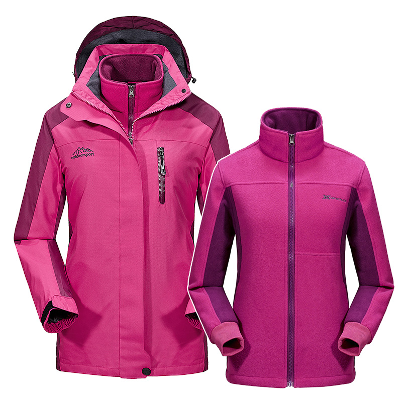Windbreaker Jacket Women Spring Winter Softshell Waterproof Hiking Jacket Coat Fleece Hood Outdoor Sports Female Clothing 2 in 1 2017 new camel outdoor spring summer skin clothing girls waterproof breathable windbreaker sun protective jacket a7s1u7178
