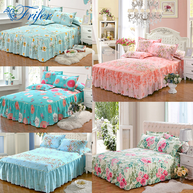 150x200cm Full Size Bed Skirt Polyester Cotton Past Bedspreads Mattress Covers 48x74 Pillowcase Home Use Bedding