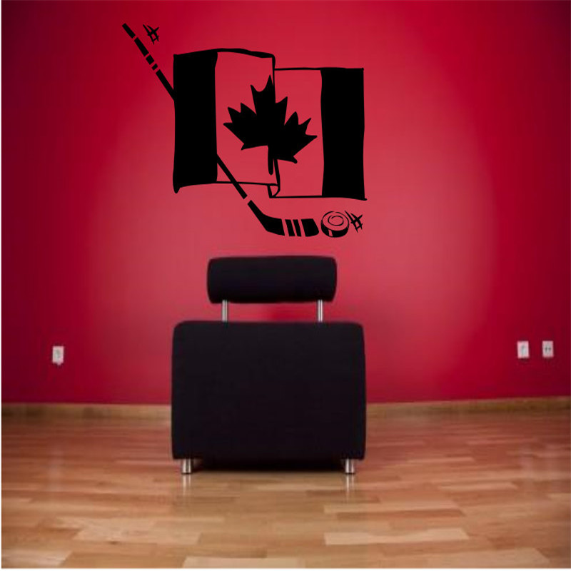 Canada Hockey Flag Wall Stickers For Kids Nursery Room Wall Decal Living Room Sports Vinyl Home Decals Modern Design Decor