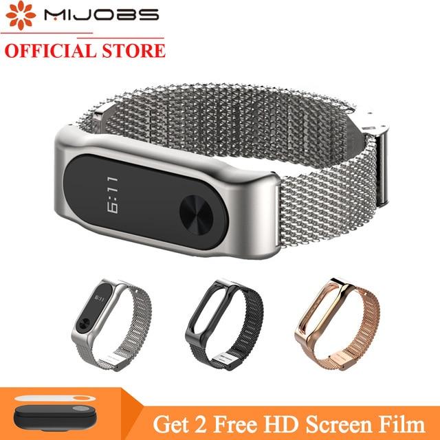 Mijobs Mi Band 2 Strap Milanese Bracelet for Xiaomi Mi Band 2 Wrist Strap Mi Band2 Smart Band Strap MiBand 2 Strap Wristbands