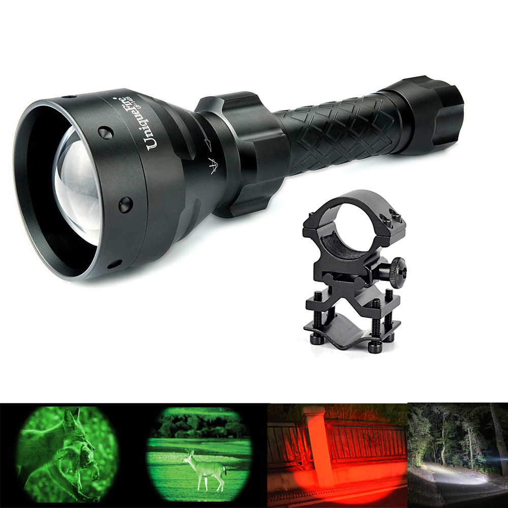 UniqueFire UF Flashlight Hight Power Led Torch UF-1405-XRE  67mm Convex Lens Lamp Red Light+Scope Mount uniquefire night vision t67 flashlight uf 1405 ir 850nm led flashlight kit lamp torch remote pressure scope mount charger