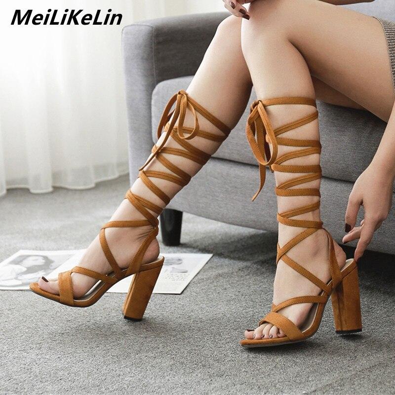 2018 Sexy Setengah Lutut Tali Gladiator Wanita Sandal Bertumit Tinggi dan  Tebal Mengikat Sepatu Hak Wanita 4eaab93b52