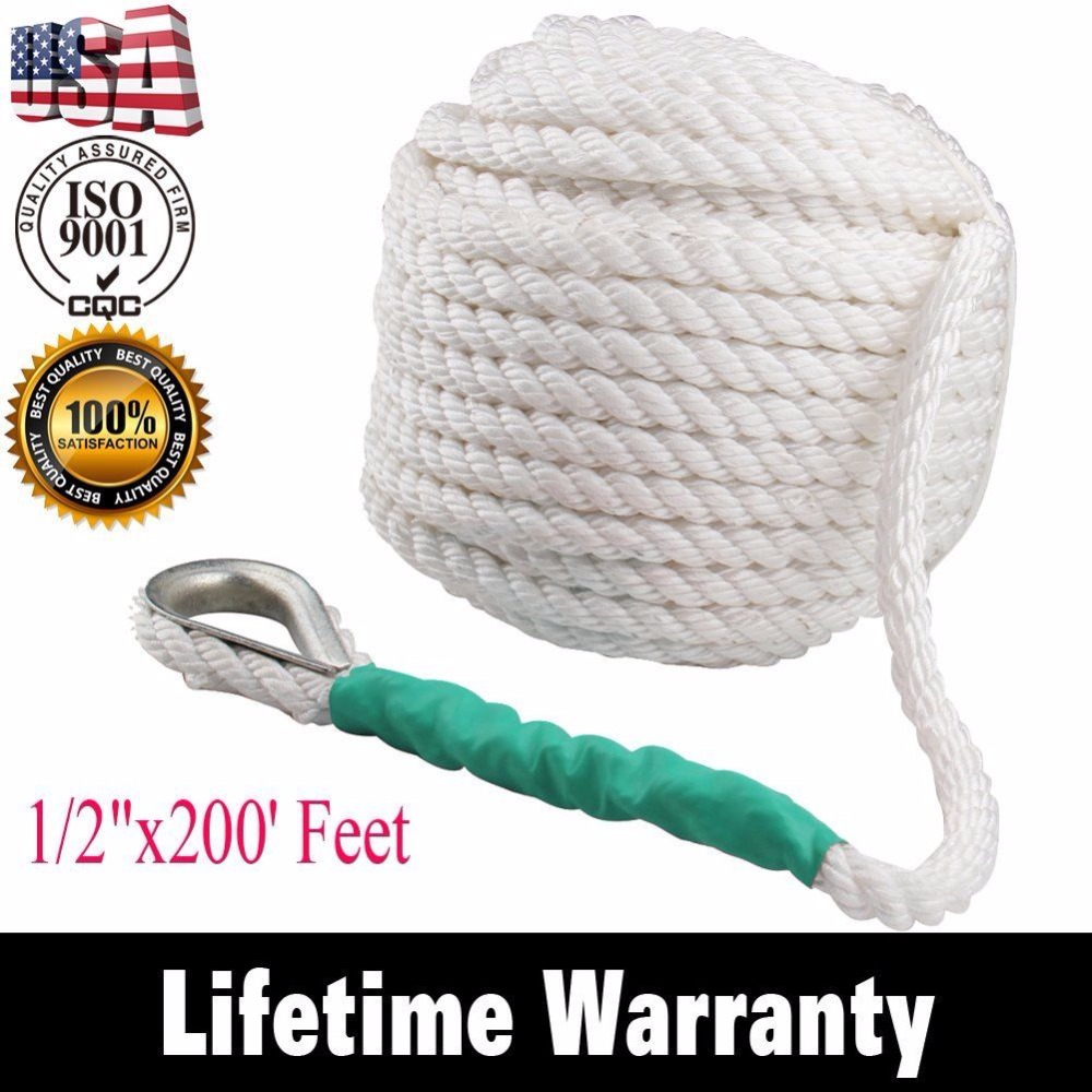 1/2x200  12.7mm x  60m Twisted Four Strand Nylon Anchor Rope Boat with Thimble1/2x200  12.7mm x  60m Twisted Four Strand Nylon Anchor Rope Boat with Thimble