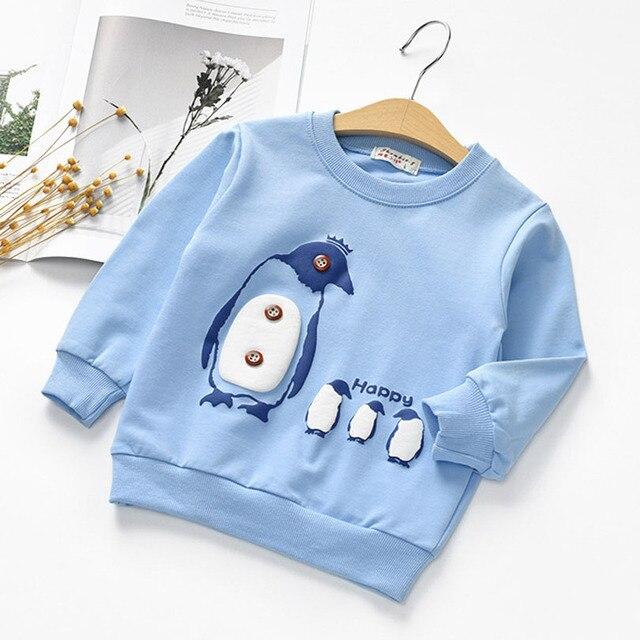 Осень Пингвин белая толстовка Худи Детская толстовка для мальчиков Худи для маленьких девочек одежда Vetement Enfant GARCON От 2 до 7 лет