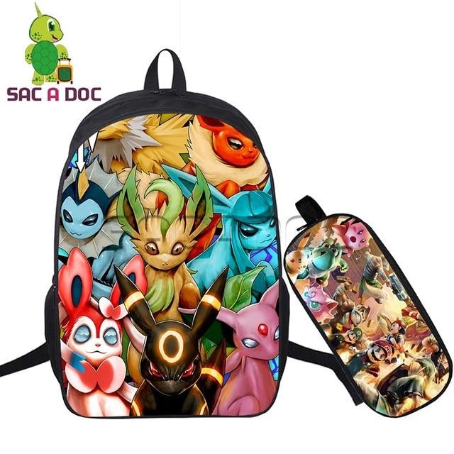 2 Pcs Set Pokemon Backpack Eevee Evolutions Umbreon Prints For Teenagers Girls Boys Travel Bagpack