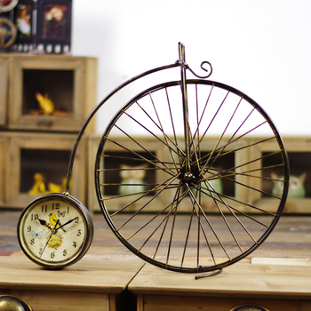Do old Wrought Iron Bicycle Model Desk Table Clocks Creative Home furnishing articles arts and Crafts