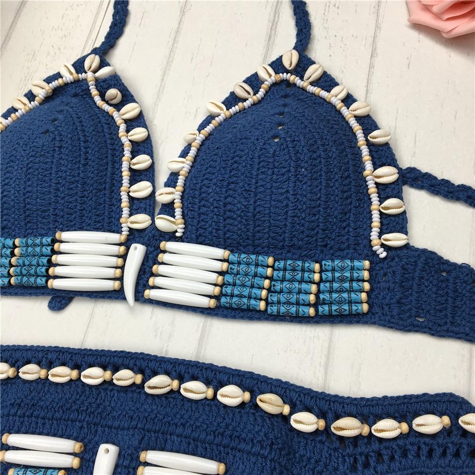 Super sexy bikini micro crochet con shell azul halter hecho a mano ...
