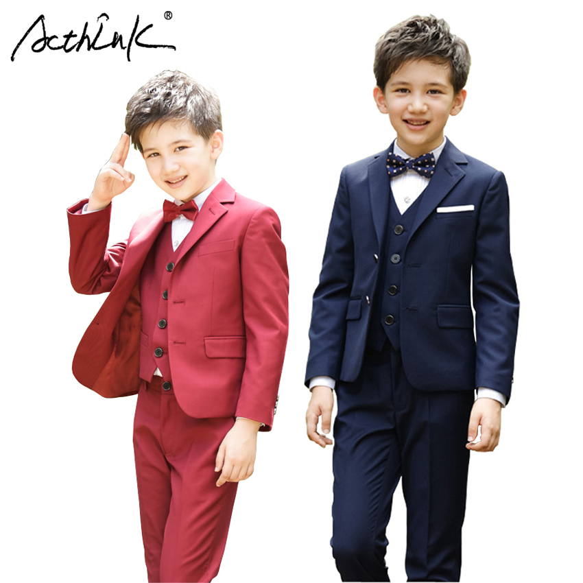ActhInK New Boys 5Pcs Winter Clothing Set British Style School Boys Waistcoat Uniform Suit with Shirt Boys Wedding Suit, C326 acthink new boys summer formal 3pcs shirt shorts waistcoat suit children england style wedding suit with bowtie for boys zc033