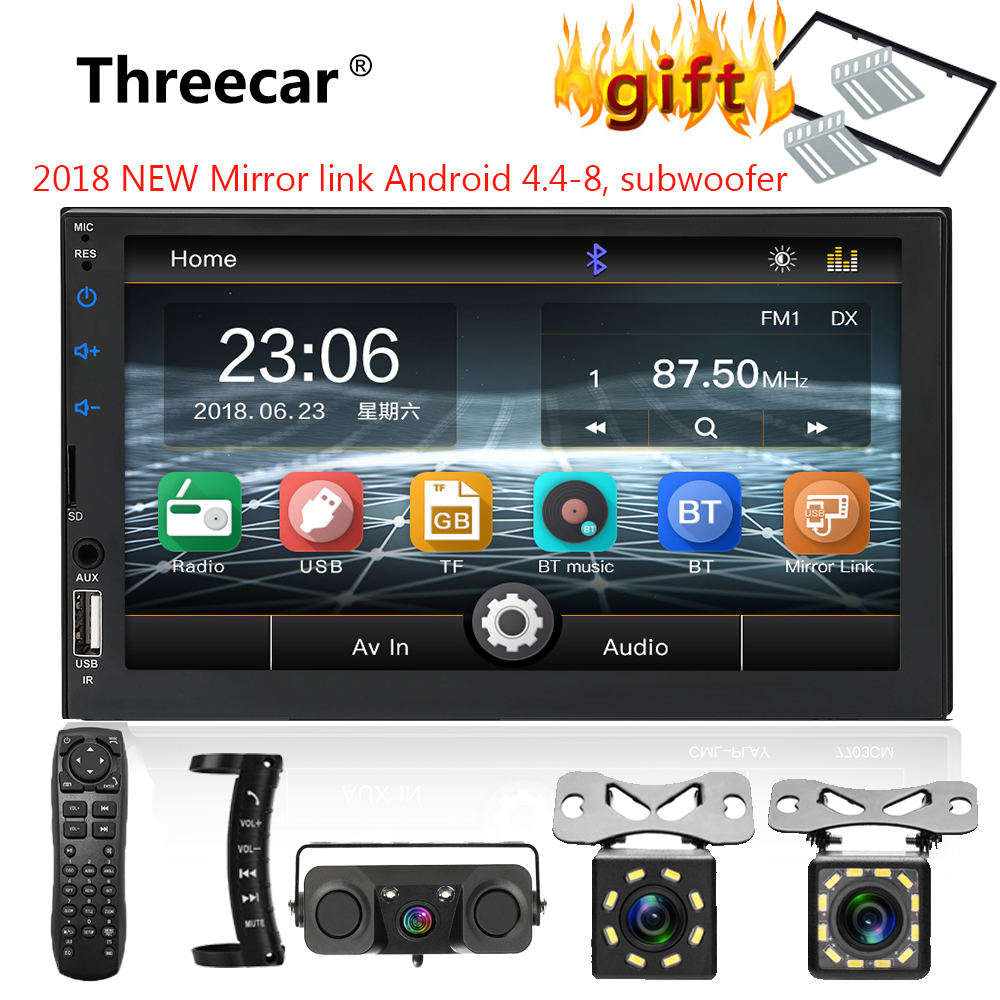 """2 din car radio 7"""" HD Touch Screen Player mirrorlink Android MP5 Subwoofer/SD/FM/MP4/USB/AUX/Bluetooth Car Auto Audio For Camera"""