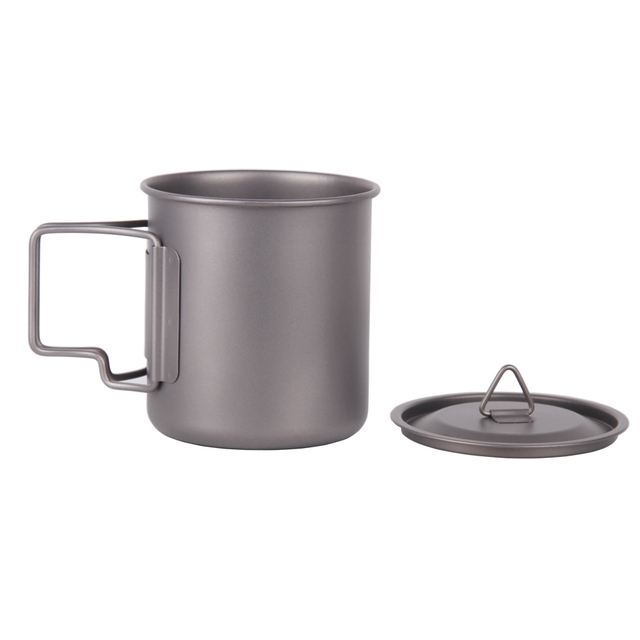 Ultralight Folding Titanium Mug Outdoor Camping Titanium Tableware Picnic Water Cup 400ml