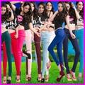 2015 Novas Mulheres de Verão Plus Size calças de Brim Barato Colorido Dos Doces Comprimento Total Zipper Slim Fit Calças Skinny Penci