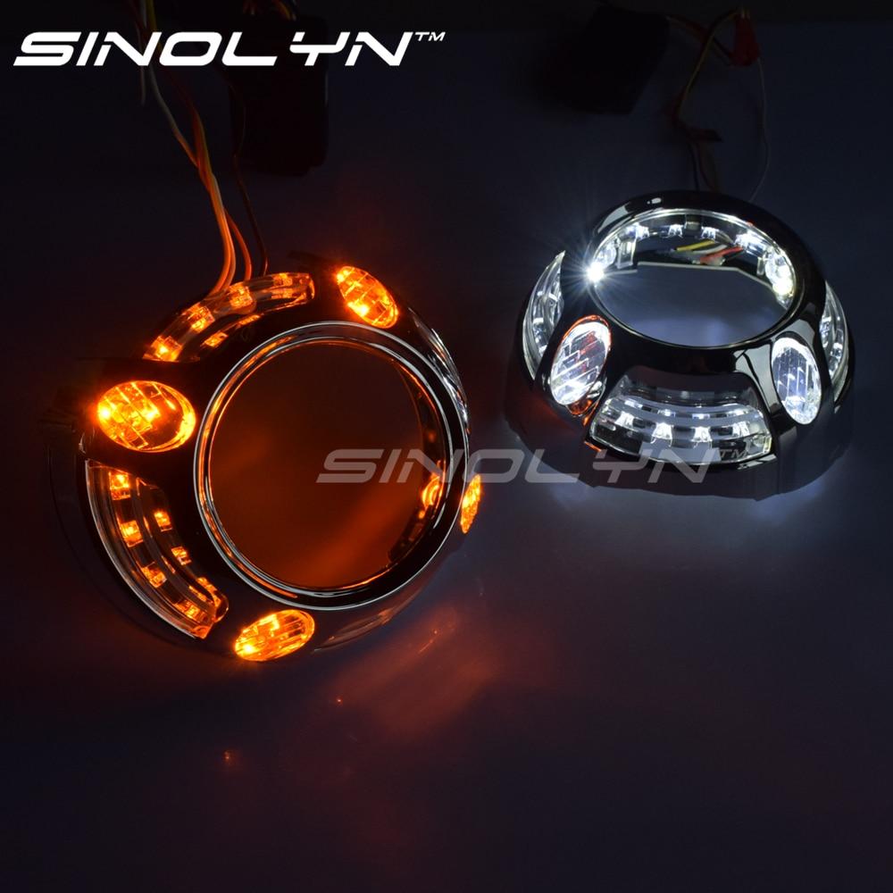 Sinolyn LED Angel Eye Shrouds For Panamera Style 3.0 Hella 3R G5/Koito Q5 Bi-xenon Lens Masks Headlight DRL Bezel Switchback DIY