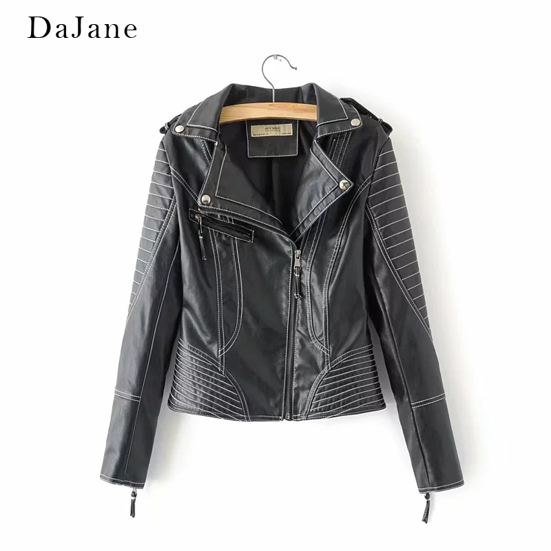 DaJane New women's PU   Leather   Short   Leather   Jacket Jacket   Leather   Jacket Women