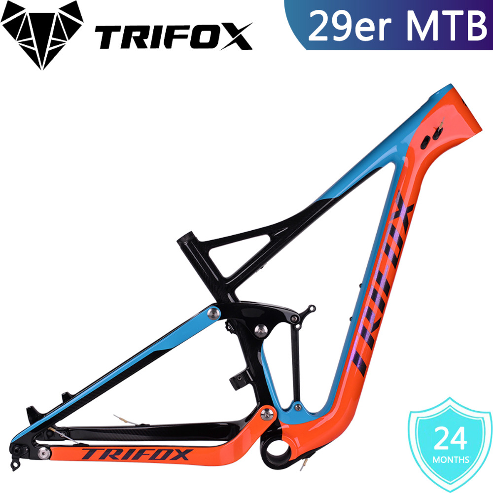2018 TRIFOX Enduro Bike 29er Frame MTB Carbon Full Suspension With Disk Brake 160mm Travel 122mm Carbon Frame