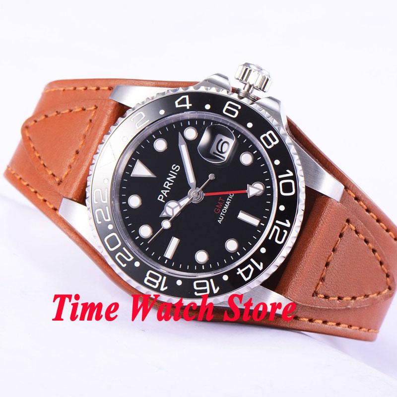 Parnis 40mm GMT 3804 Automatic men's watch sapphire glass black dial luminous ceramic date display waterproof bezel