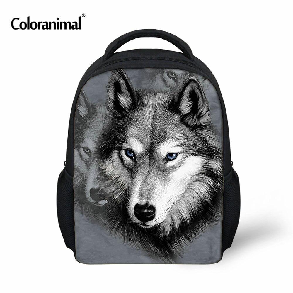 Coloranimal 3D Wolf Animals Children School Bags Small Bookbag For Boys Mochila Infantil Schoolbag Kindergarten Kids Backpacks