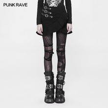 Панк Рейв черный готический Мода хлопок молния Мини Сексуальная женская короткая юбка рыбий хвост визуальный Kei WQ370