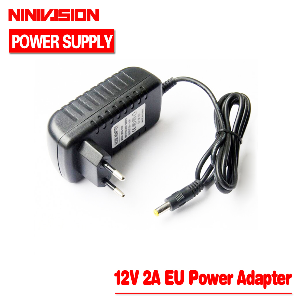 NINIVISION 1Pcs AC 100-240V to DC 12V 2A Converter Adapter Switching Power Supply Charger For LED Strips Light EU Plug Brand New meanwell 12v 350w ul certificated nes series switching power supply 85 264v ac to 12v dc