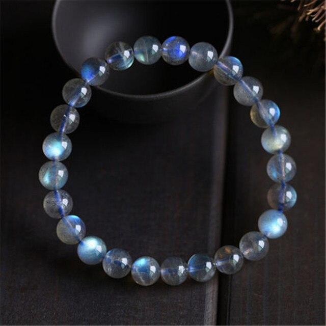 8мм Природный лед Labradorite Мунстоун Синий Радуга свет Кристалл Натяжные браслеты шарма для женщин, Femme Круглые браслеты из бисера