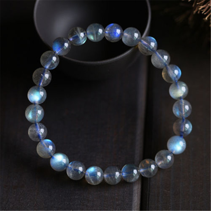 8mm Natural Ice Labradorite Moonstone Blue Rainbow Light Crystal Stretch  Charm Bracelets For Women Femme Round