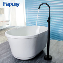 Fapully Bathroom Bath Tub Faucet Shower Floor Mounted Tub Filler Swivel Matte Black Bathtub Mixer Faucet Taps Bathtub Faucet стоимость