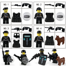 Military Swat Team Guns Weapon Pack Building Blocks City Police Soldiers Figure WW2 Army Builder Series Toys