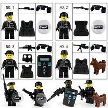 лучшая цена Military Swat Team Guns Weapon Pack Building Blocks City Police Soldiers Figure WW2 Blocks Military Army Builder Series Toys