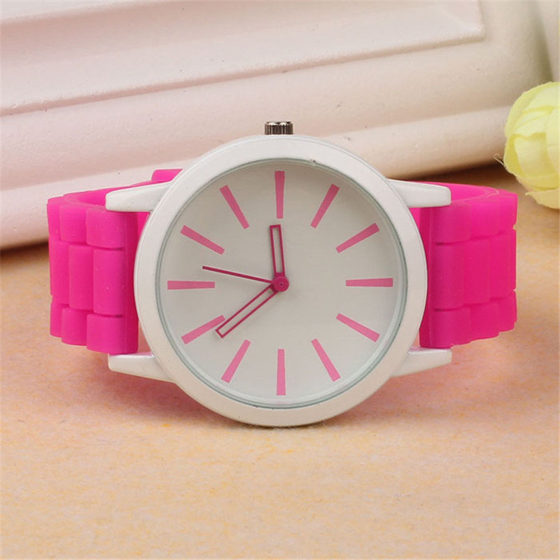 Luxury Women Watch Silicone Rubber Unisex Quartz Analog Sports Women Fashion Wrist Hot Pink For Lovely Girls #4m14 (5)